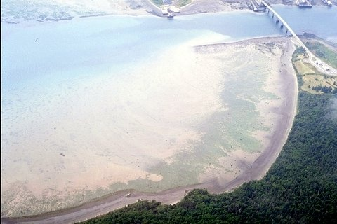 Aerial photo of the Lubec Narrows, Lubec, Maine, circa 1998
